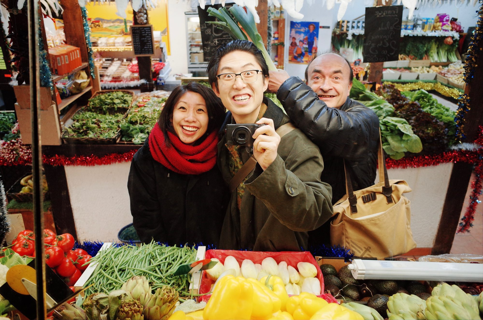 Selfie our Cindy and our friend at local market in Marseille