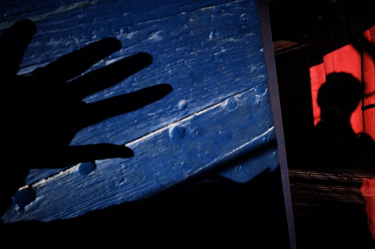 Hand and selfie shadow. Blue and red. Marseille, 2017