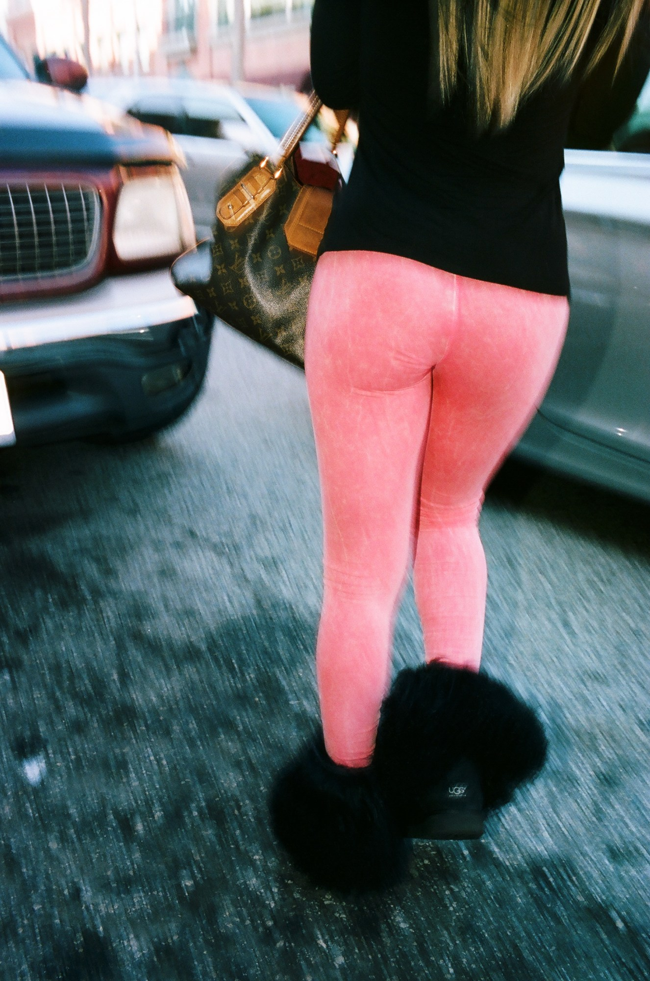 Woman with pink leggings. Shot with flash with slow sync speed (1/15th second)