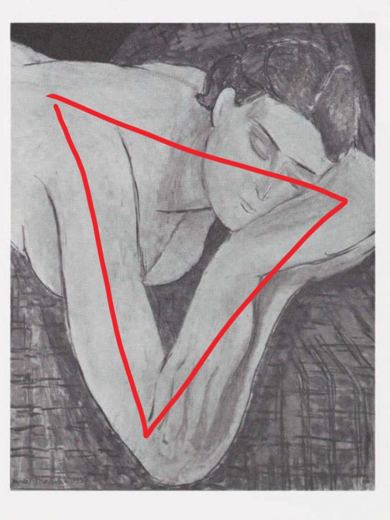 Triangle composition by Matisse outlined in red.