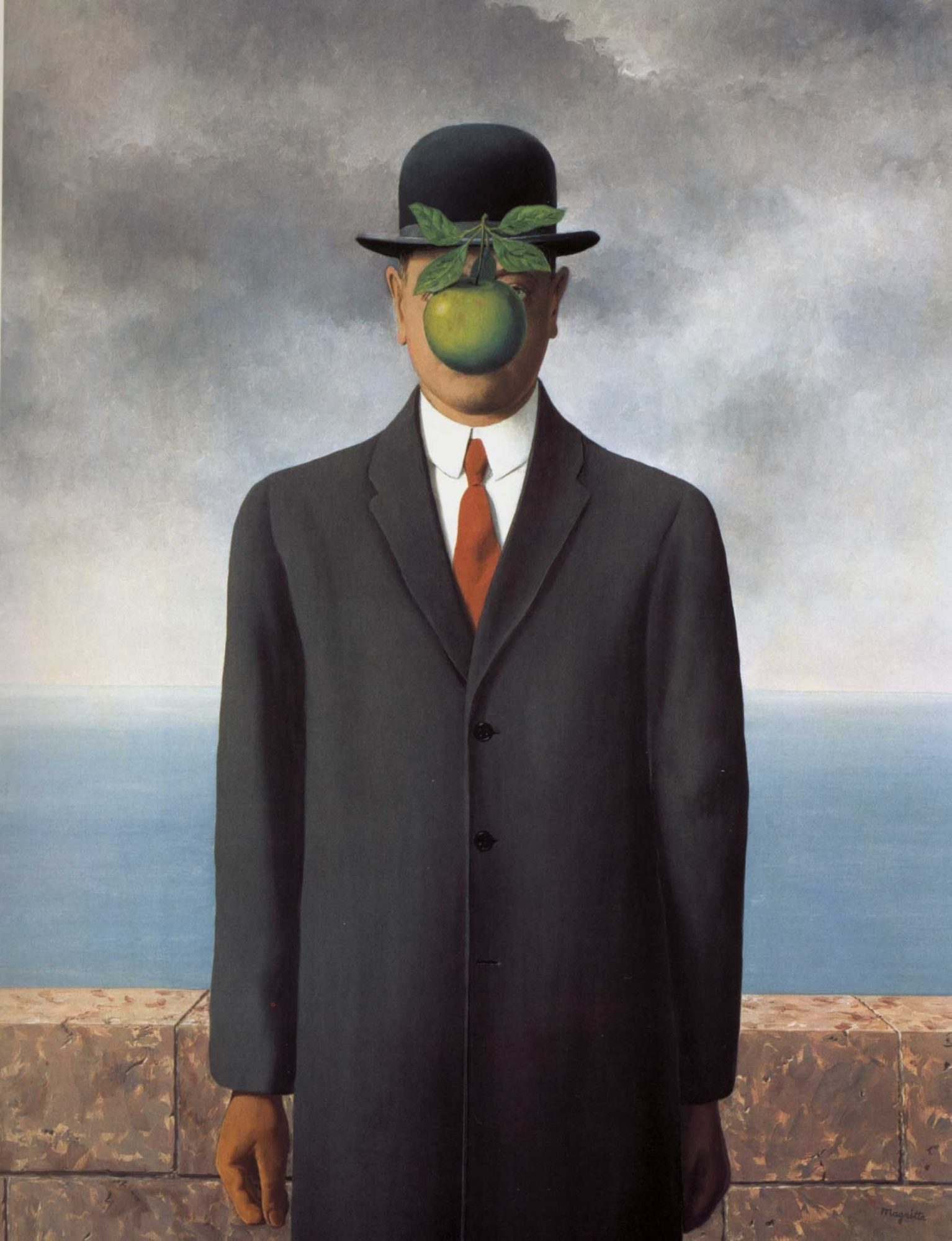 Son of man by Rene Magritte, green apple with red tie.