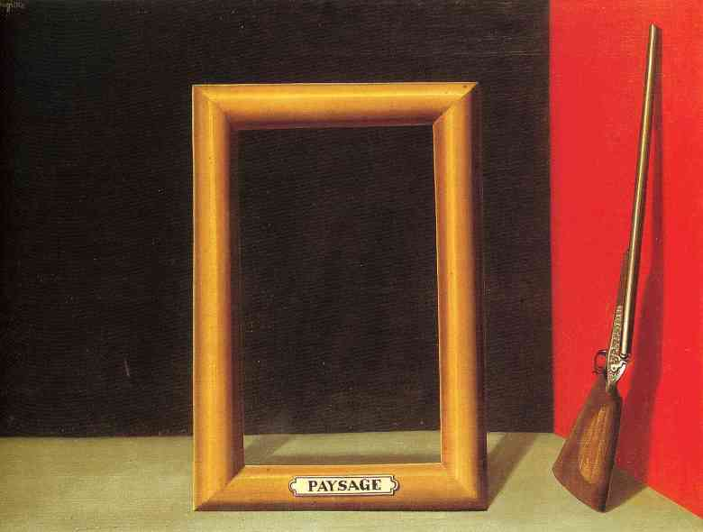 1928, the delights of landscape by Rene Magritte