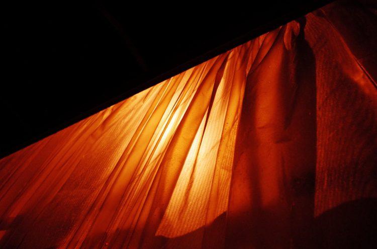Orange transparency at night. Marseille, 2017