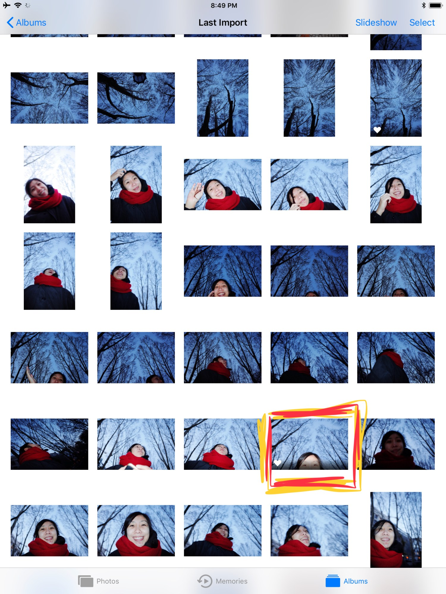 Contact sheet for Cindy eyes, and trees in background. Lisbon, 2018