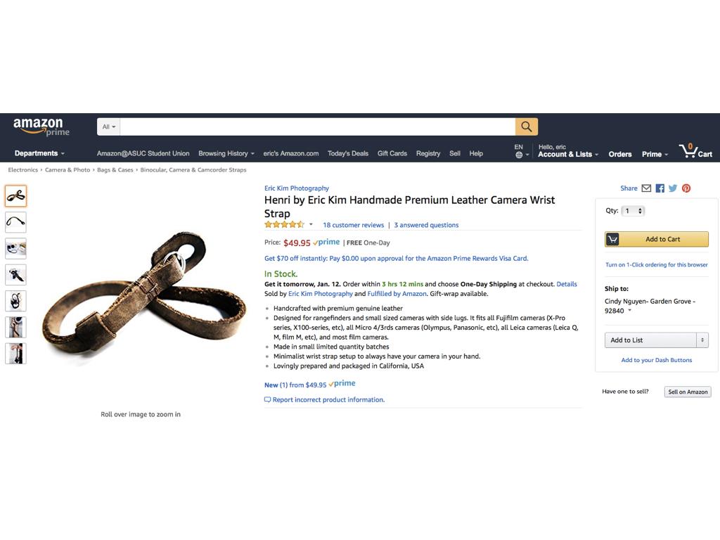 Henri Wrist Strap on Amazon