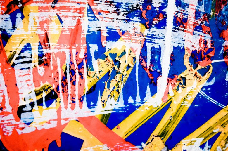 Red, yellow, blue abstract. Tokyo, 2017