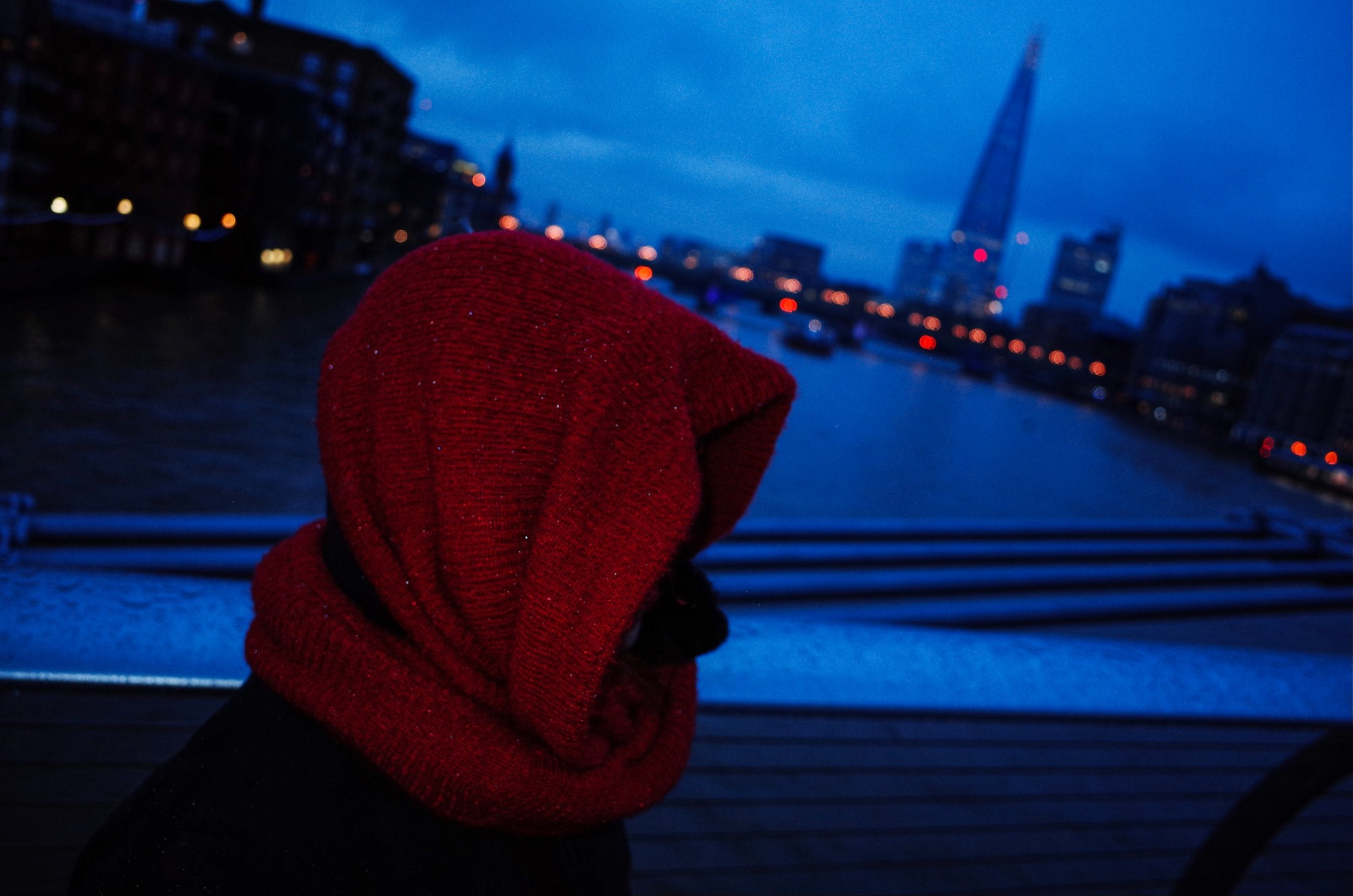 Cindy with red scarf, bridge to Tate Modern, London 2018