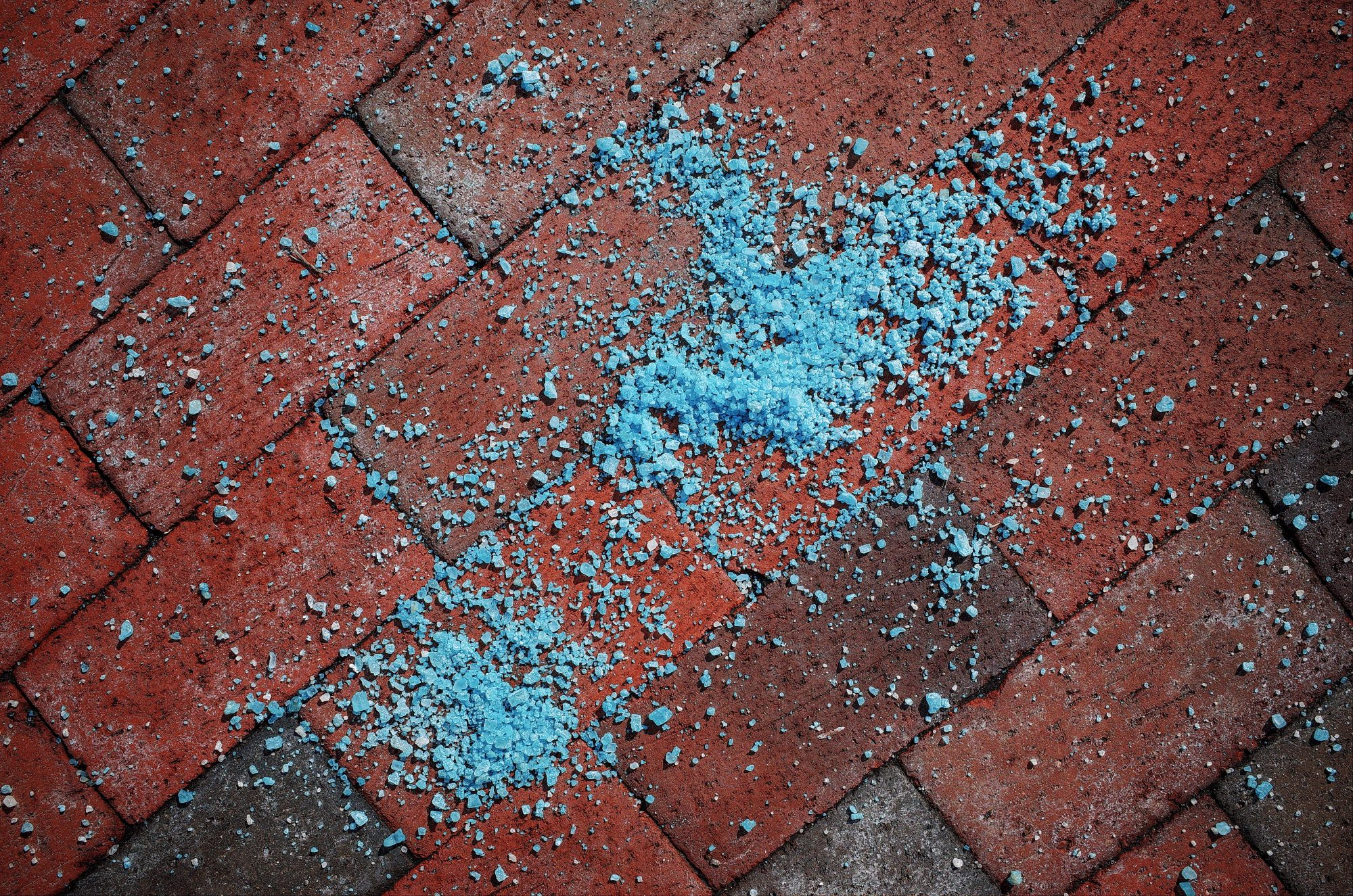 Blue salt and red background. Boston, 2018