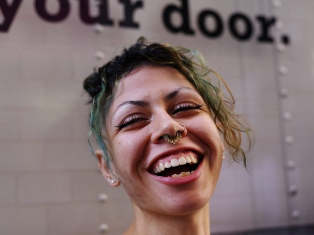 Laughing woman nyc