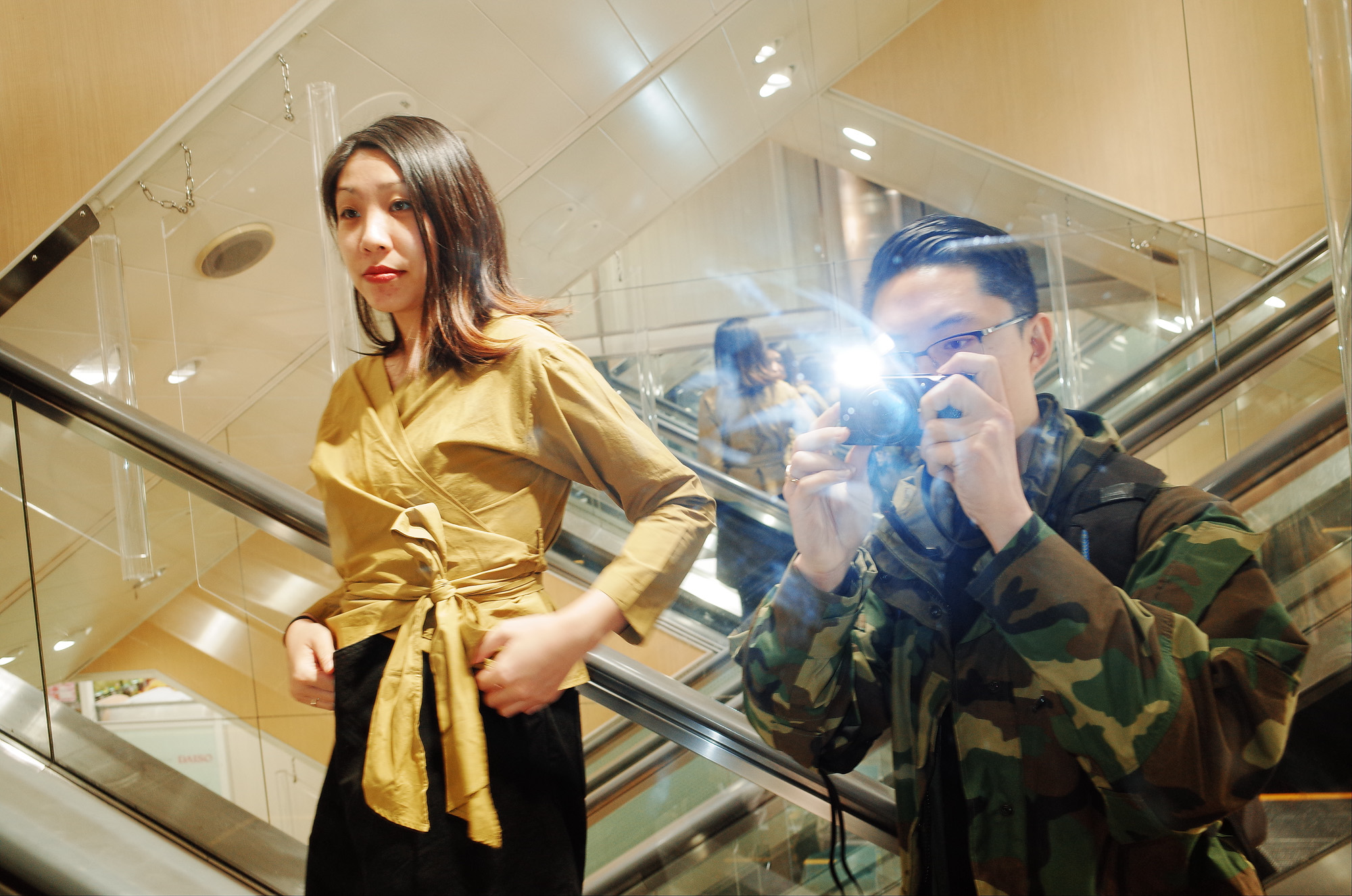 Selfie with Cindy at Daiso, Osaka, elevator, flash