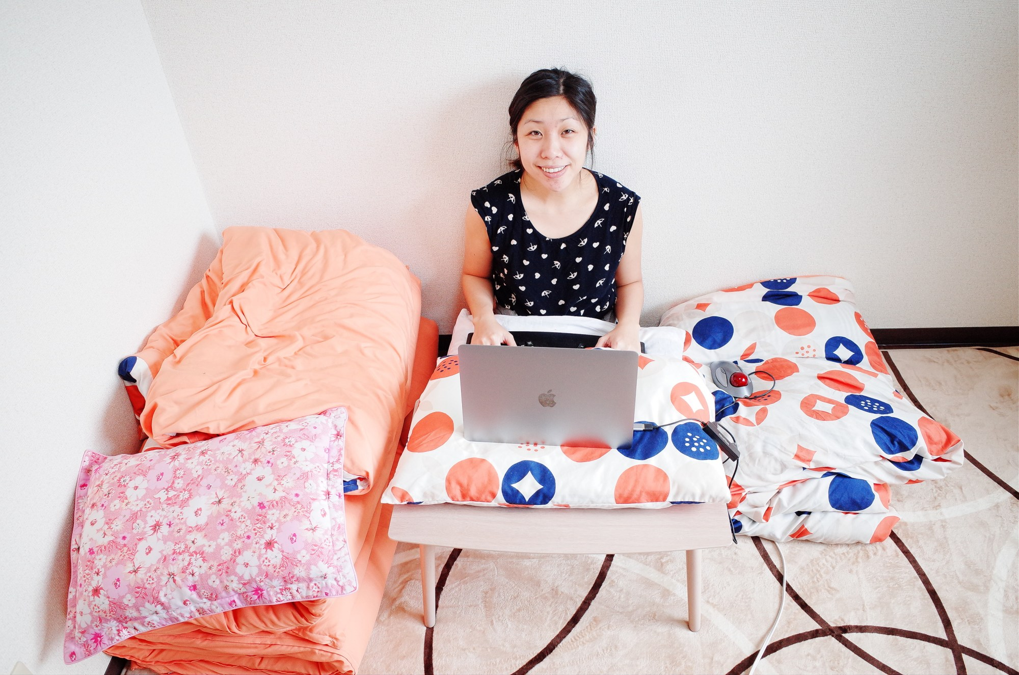 Cindy at work inside our Airbnb. Osaka, 2018