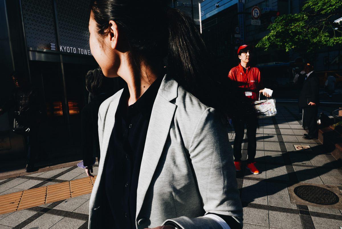 woman turning around