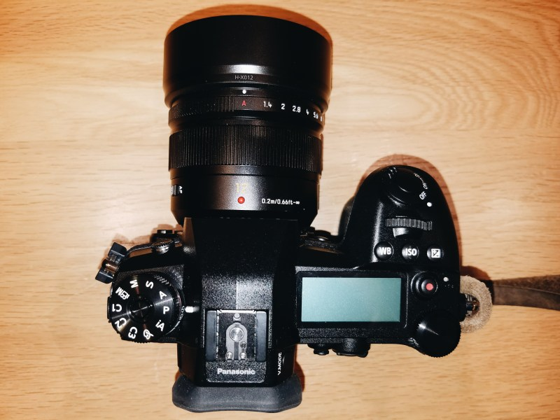 Lumix G9 and 12mm f/1.4 Lens top view.