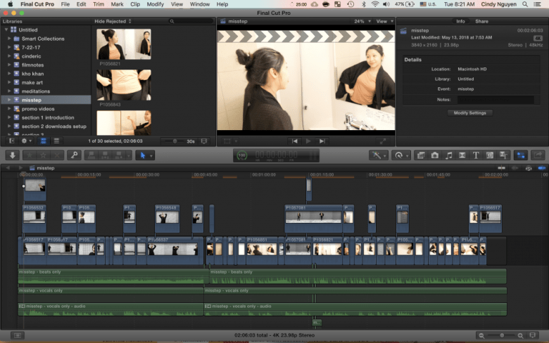 final cut pro timeline for miss fit by cindy nguyen