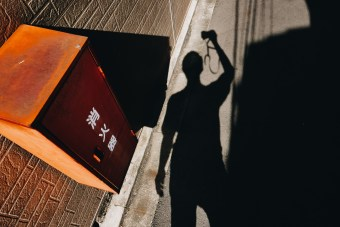 Kyoto shadow and orange selfie. 2018