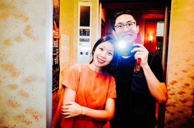 mirror selfie me and Cindy Ricoh gr ii kyoto