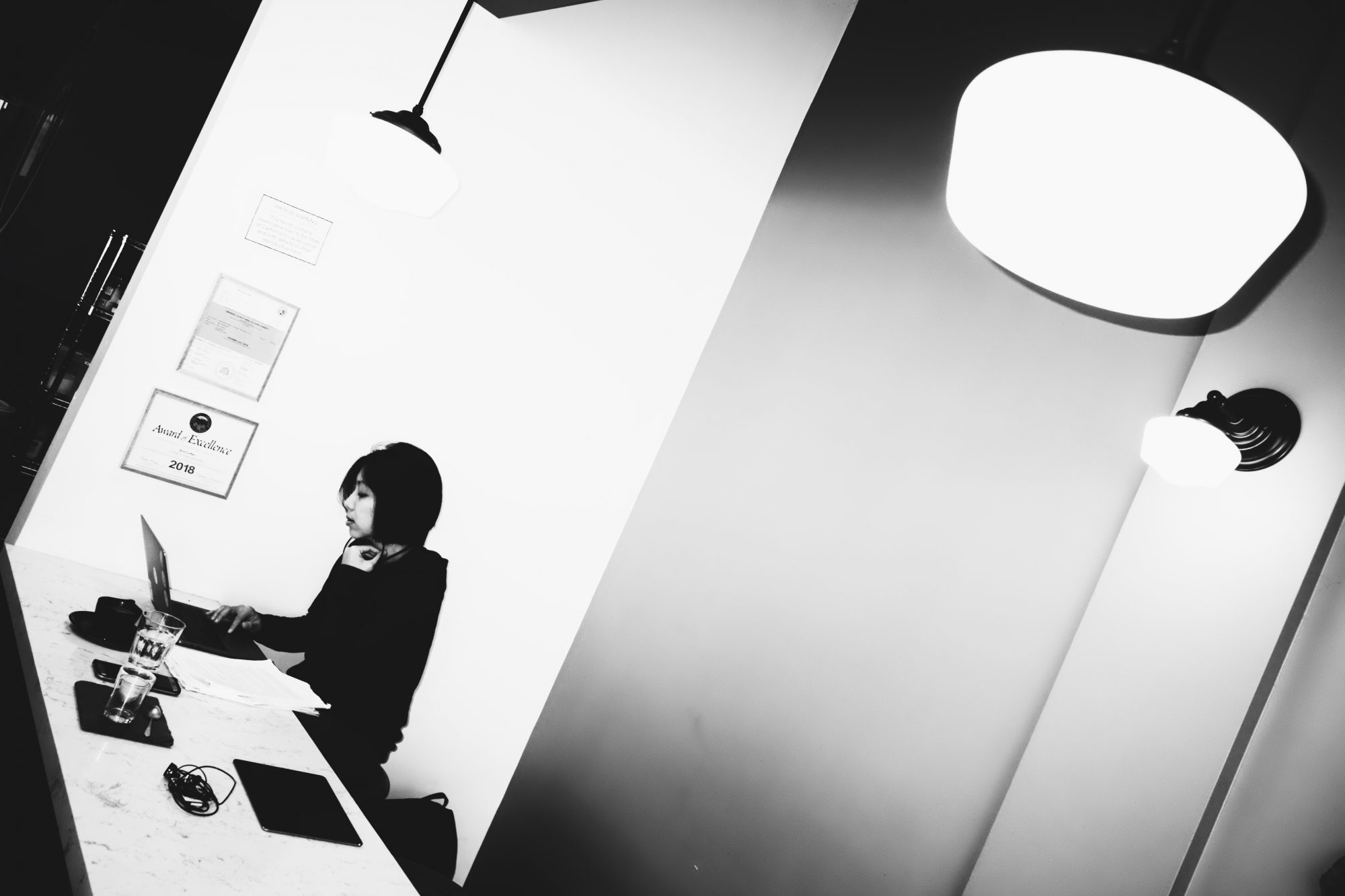 Processed with VSCO with x1 preset. Cindy in coffee shop. Processed XF10 raw photo.