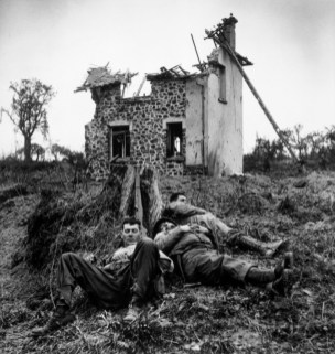 FRANCE. Near St. Lô. July 26th-30th, 1944. American soldiers resting.