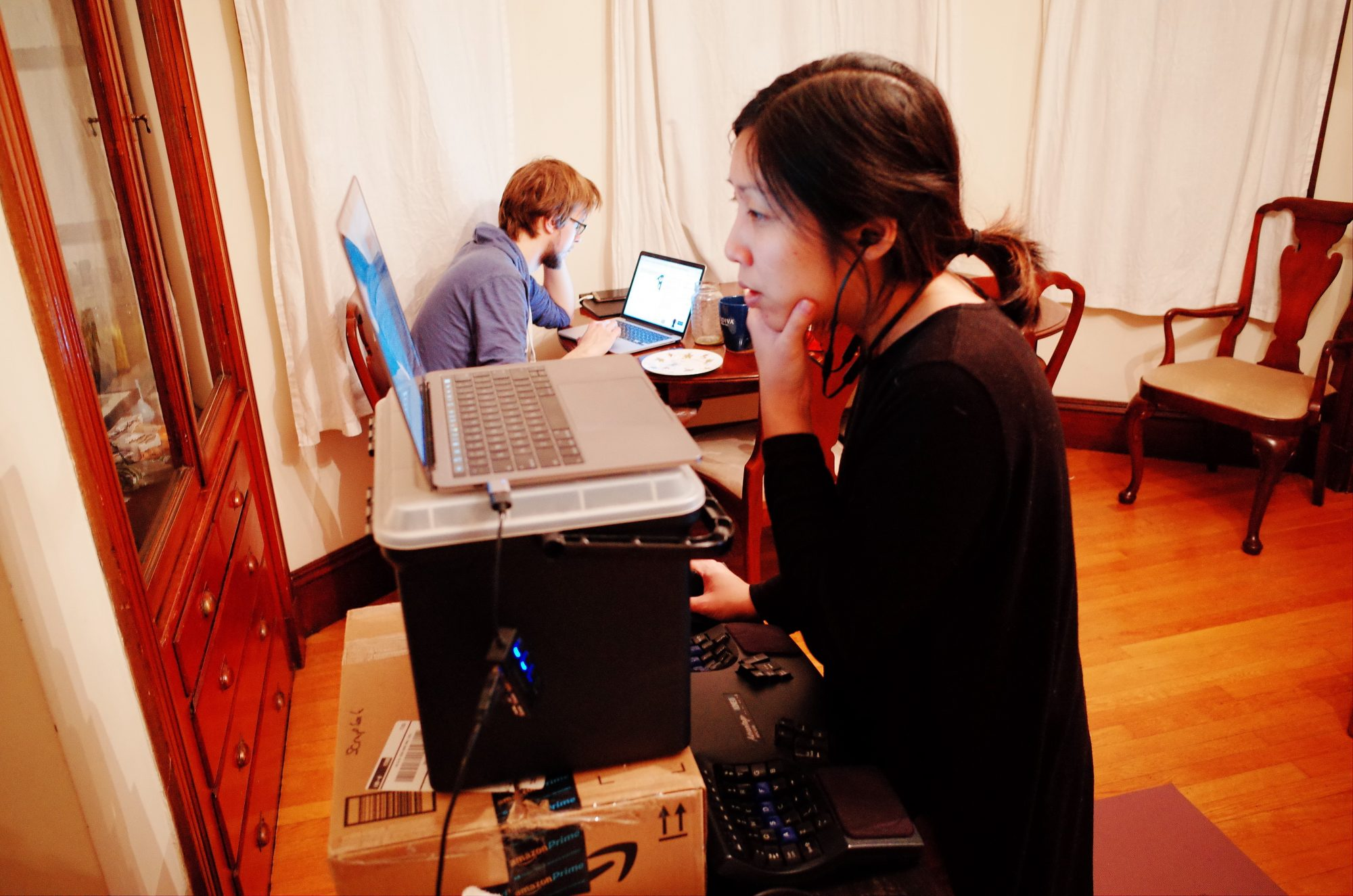 Working in Boston, with Natalie and Stotycho -- Cindy with her standing desk, 2018