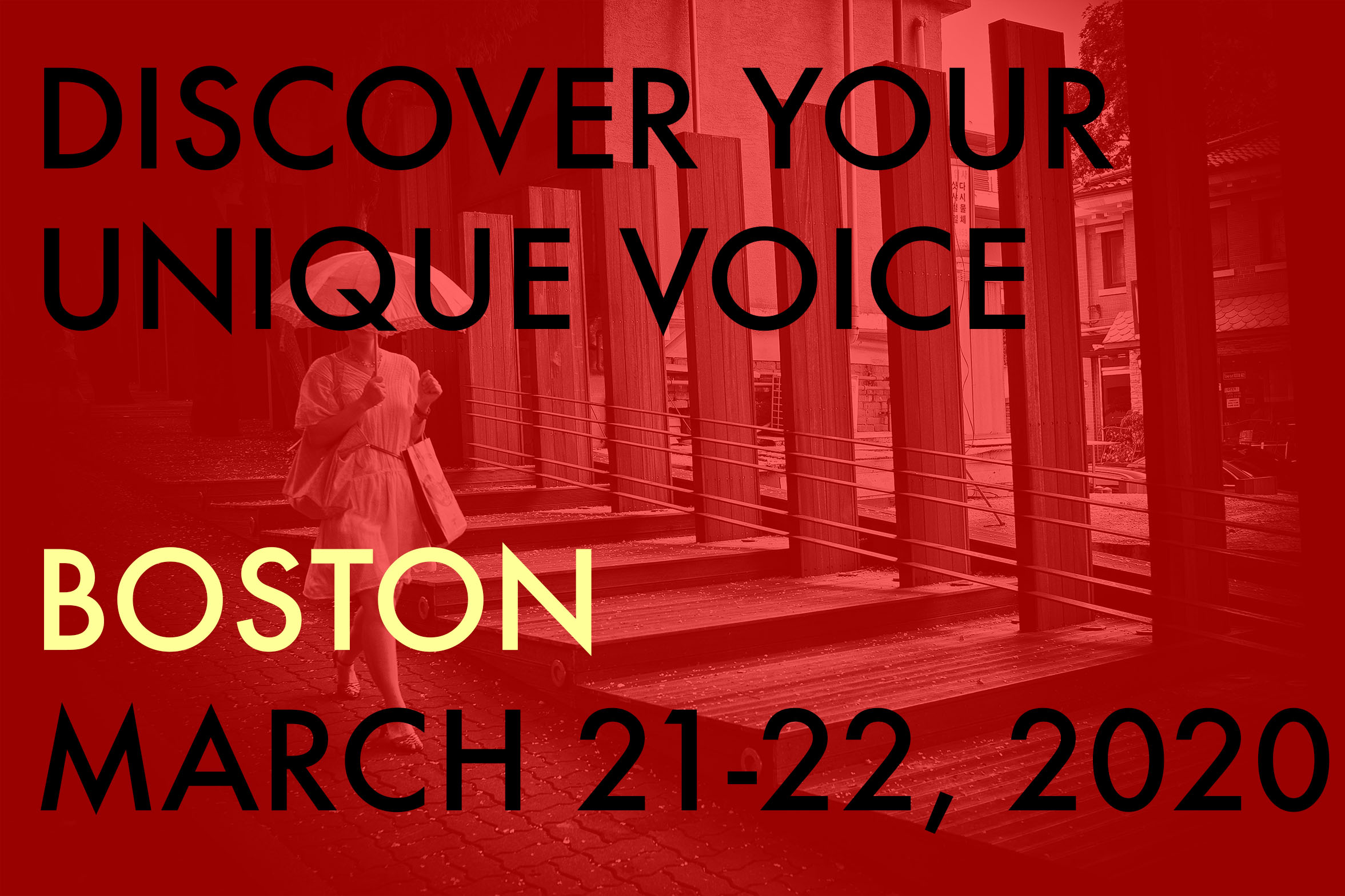 BOSTON Discover Your Unique Voice in Photography Workshop (March 21-22, 2020)