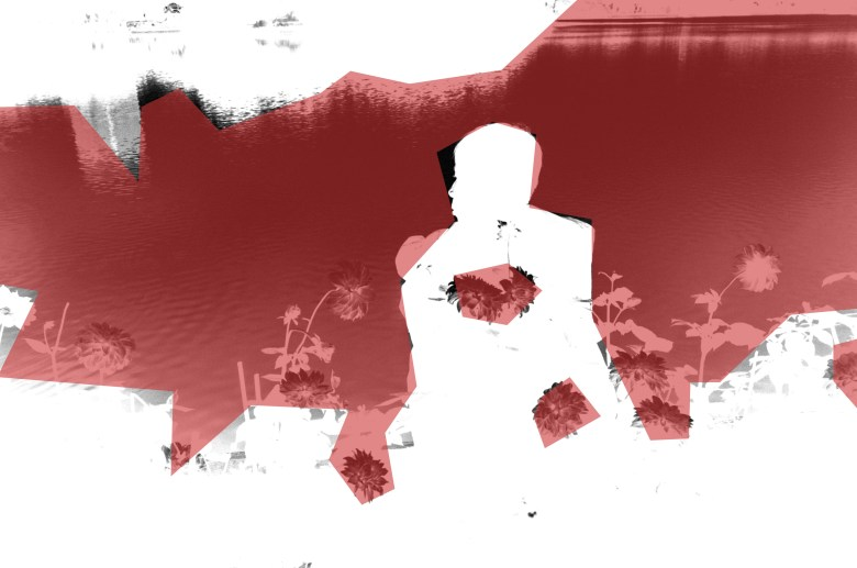 abstract. Photograph inversed again, this time with crimson red layer lowered opacity.