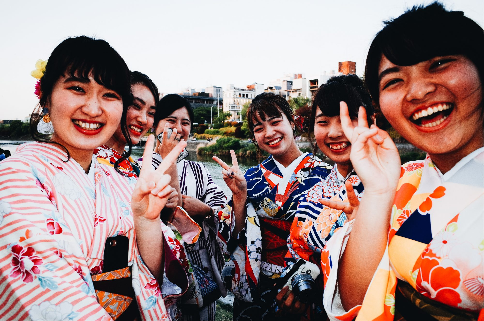 Kyoto, 2017 girls by the kazoo river