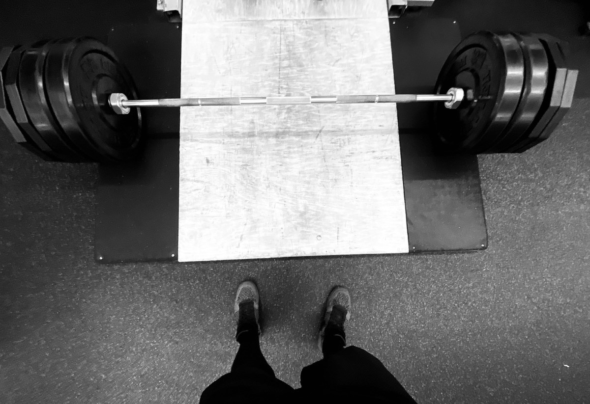 Deadlifting 420 pounds (four 45-plates on each side, with a 2.5+5 pounder)