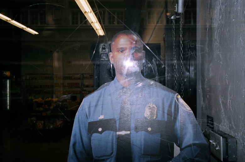 African-american cop cutout. Downtown LA, 2013 #flash #portra400
