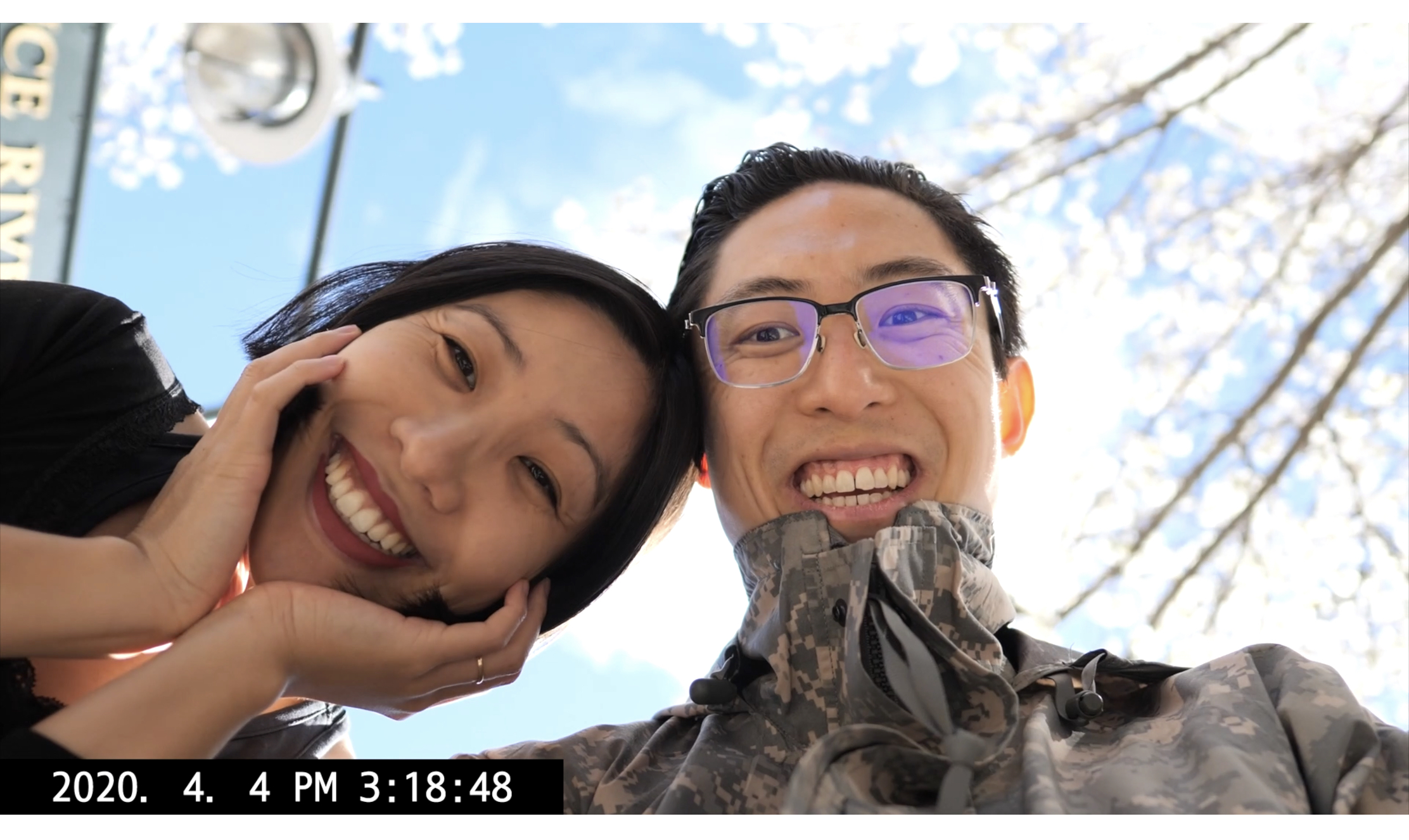 ERIC KIM and Cindy selfie low angle