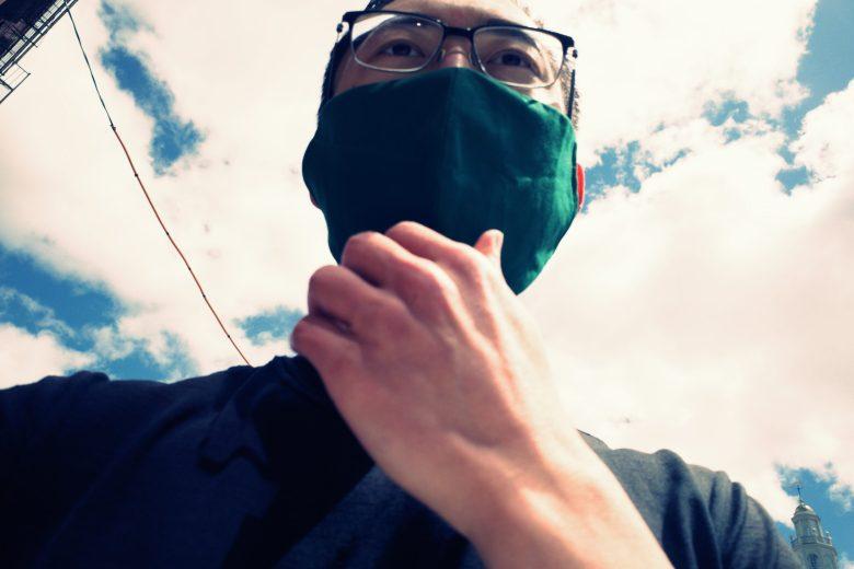 selfie green face mask