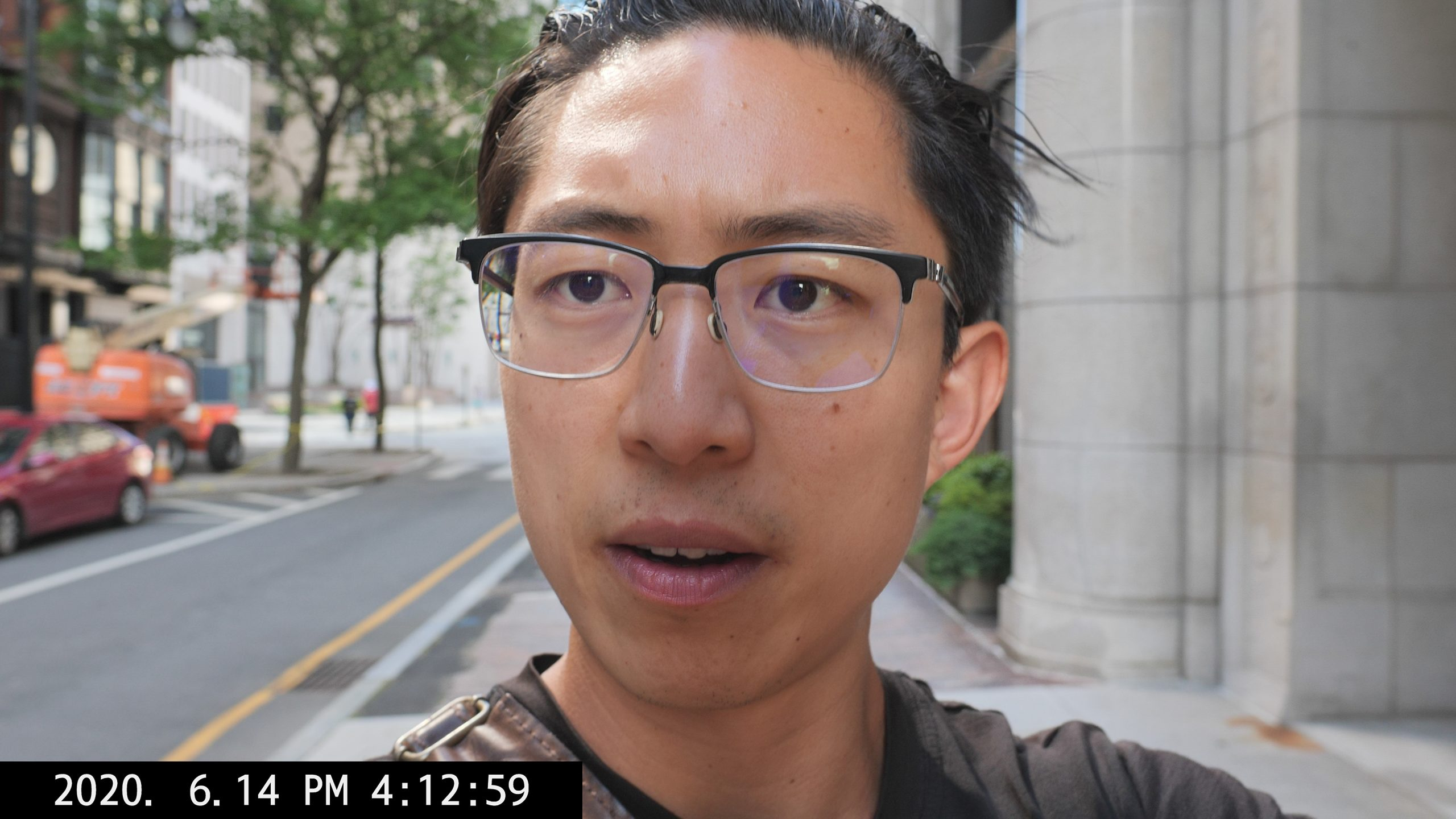 Selfie talking ERIC KIM vlog