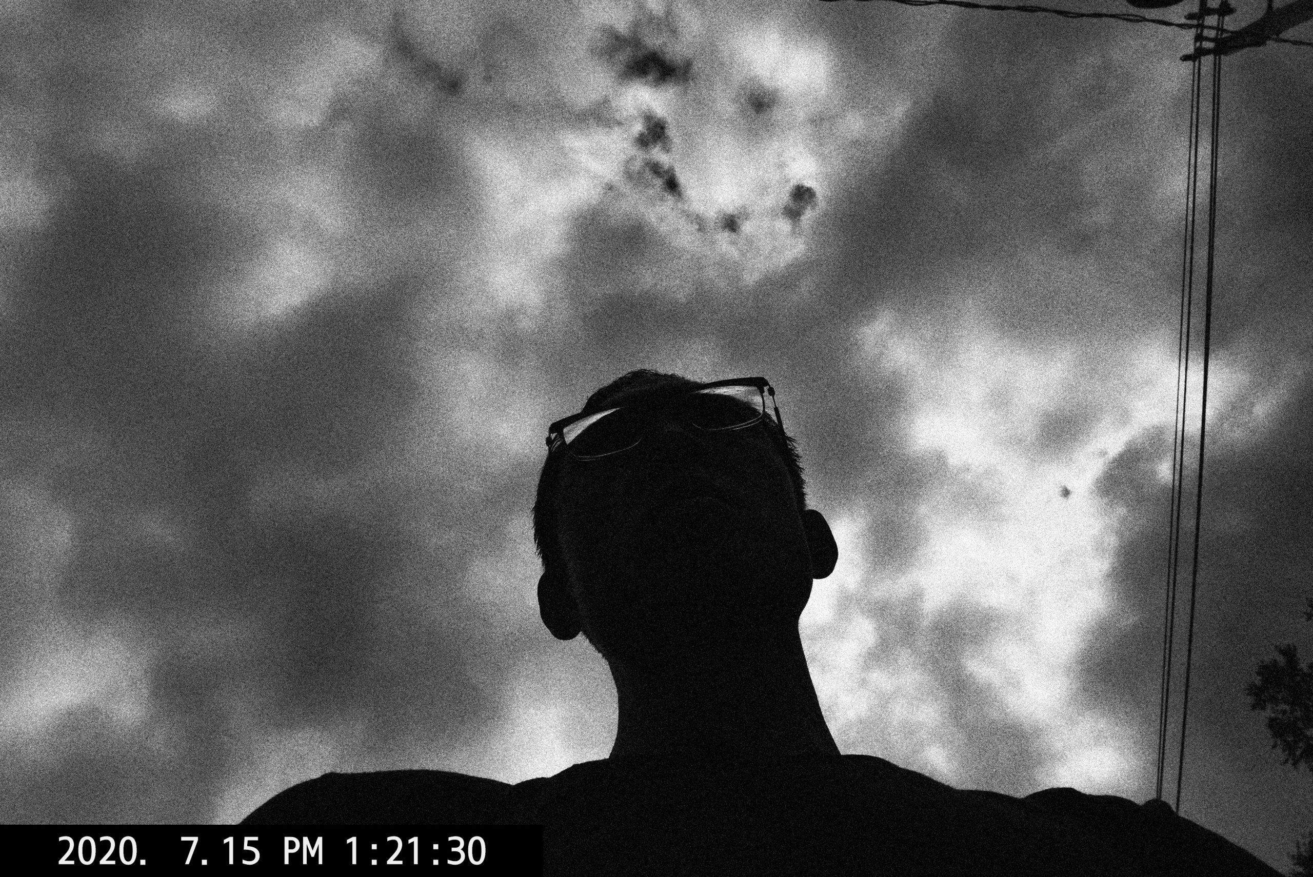 selfie black and white ERIC KIM clouds
