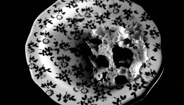 black and white bread plate