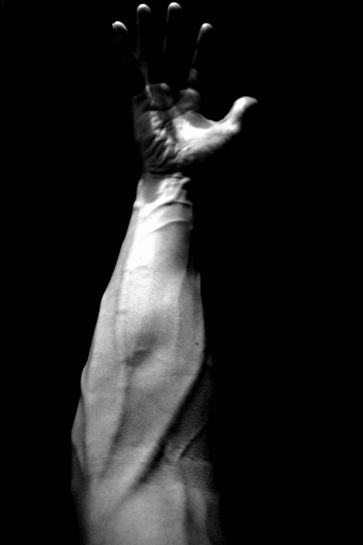 ERIC KIM arm vertical vein black and white photograph
