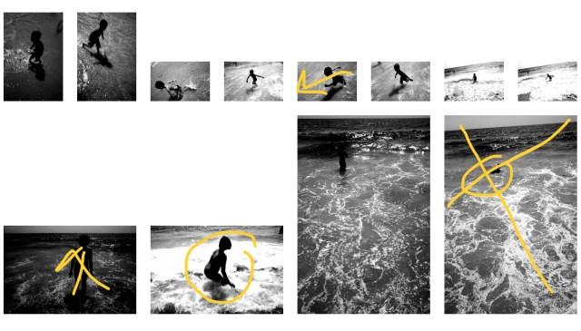 Contact sheet ERIC KIM black and white beach