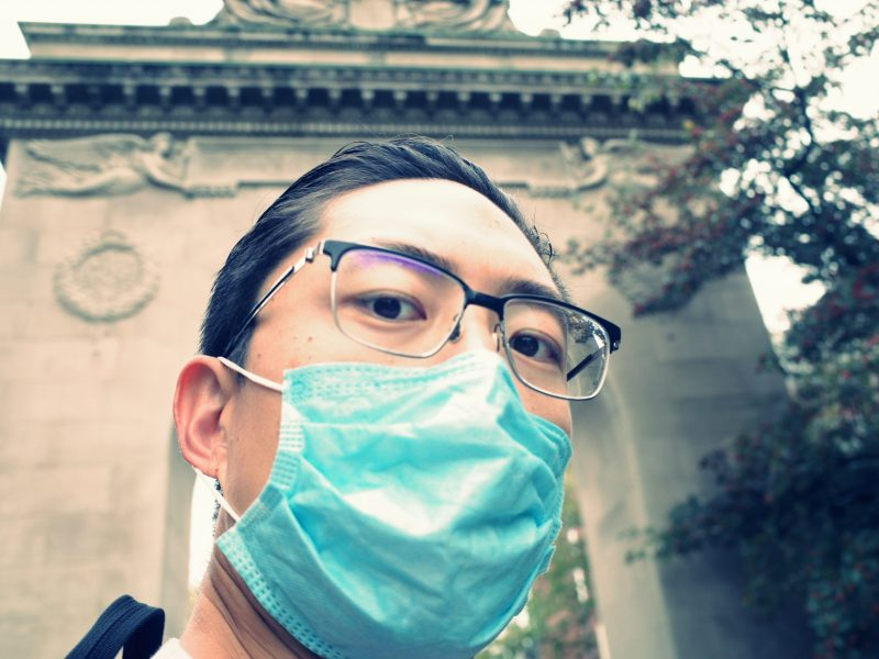 selfie ERIC KIM face mask gate turning around