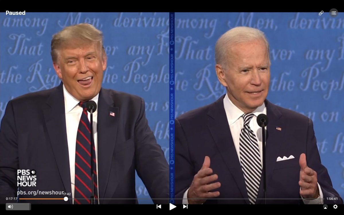Donald trump lick lips screenshot with Joe Biden presidential debate