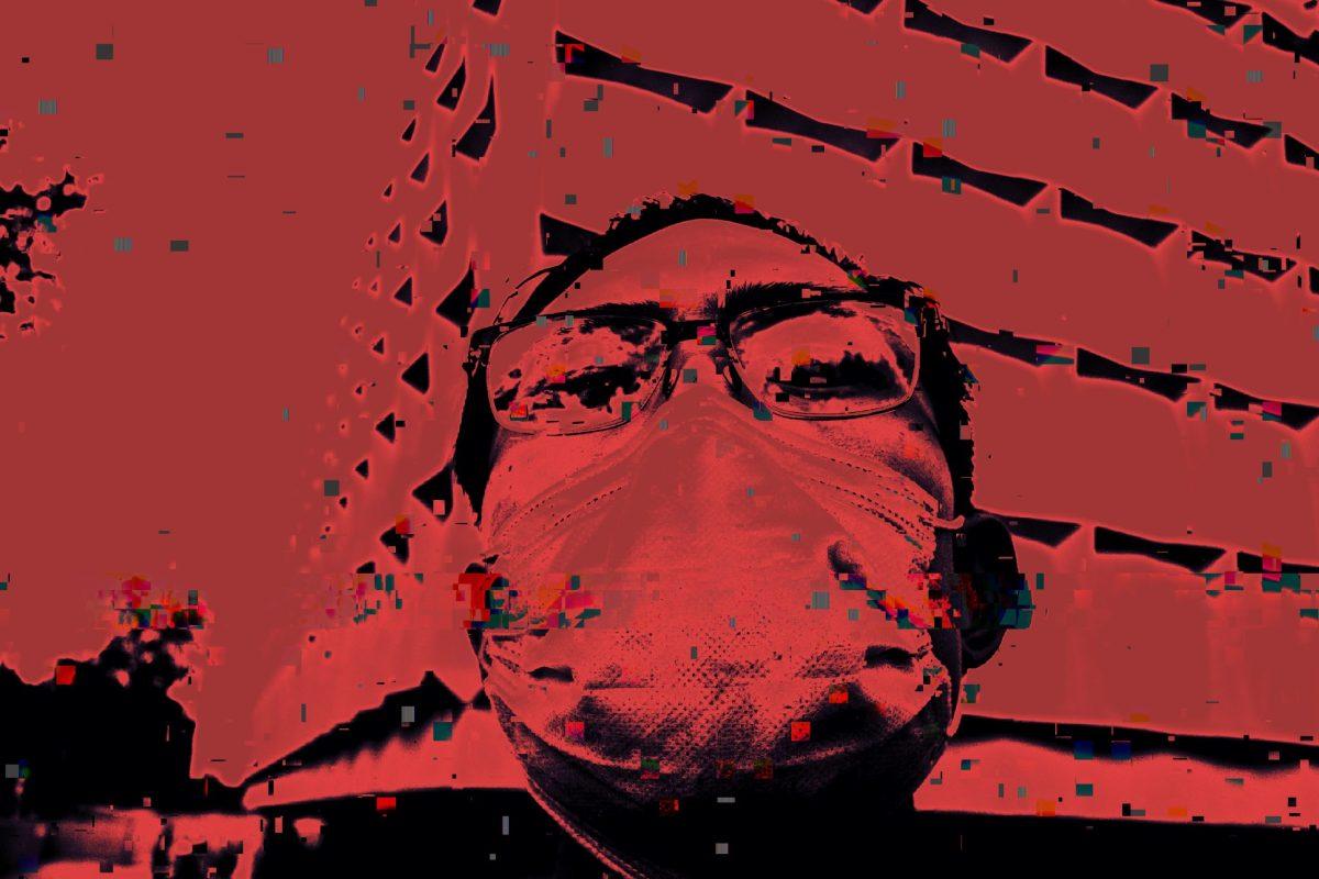 Selfie red ERIC KIM crimson glitch