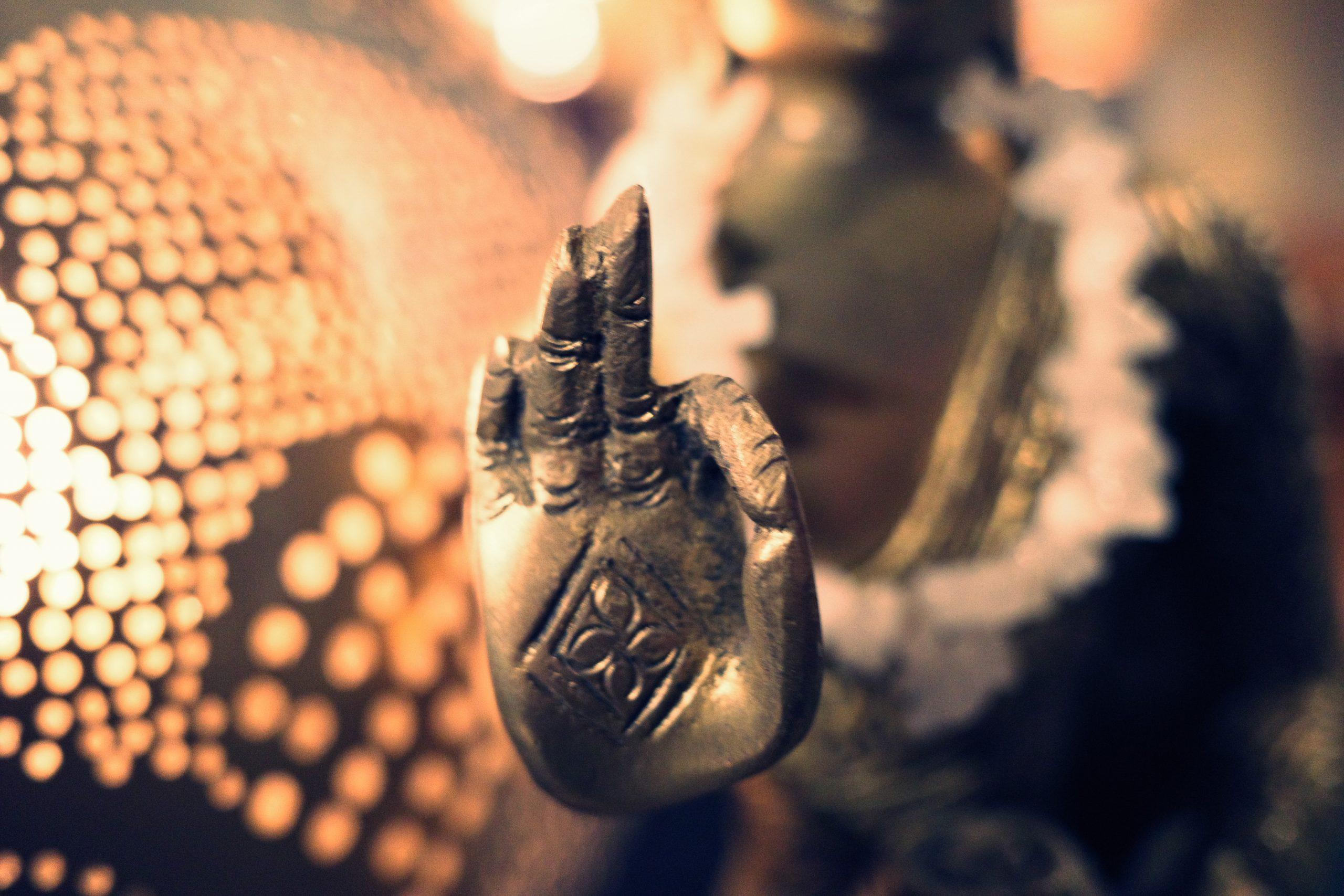 Zen Buddhist hand macro