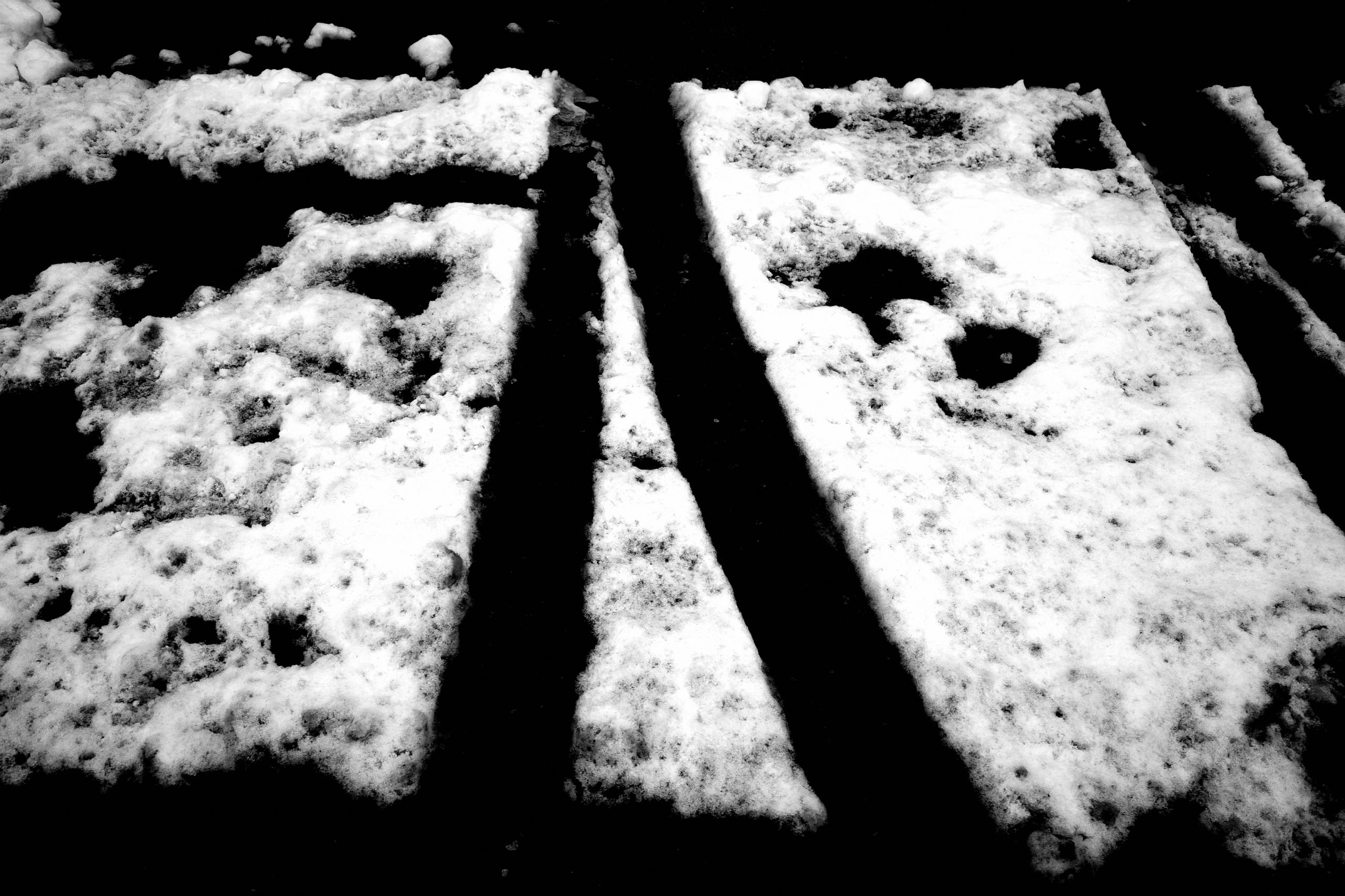 Calligraphy black and white snow