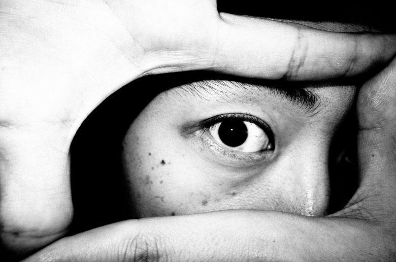 red selfie ERIC KIM eye flash