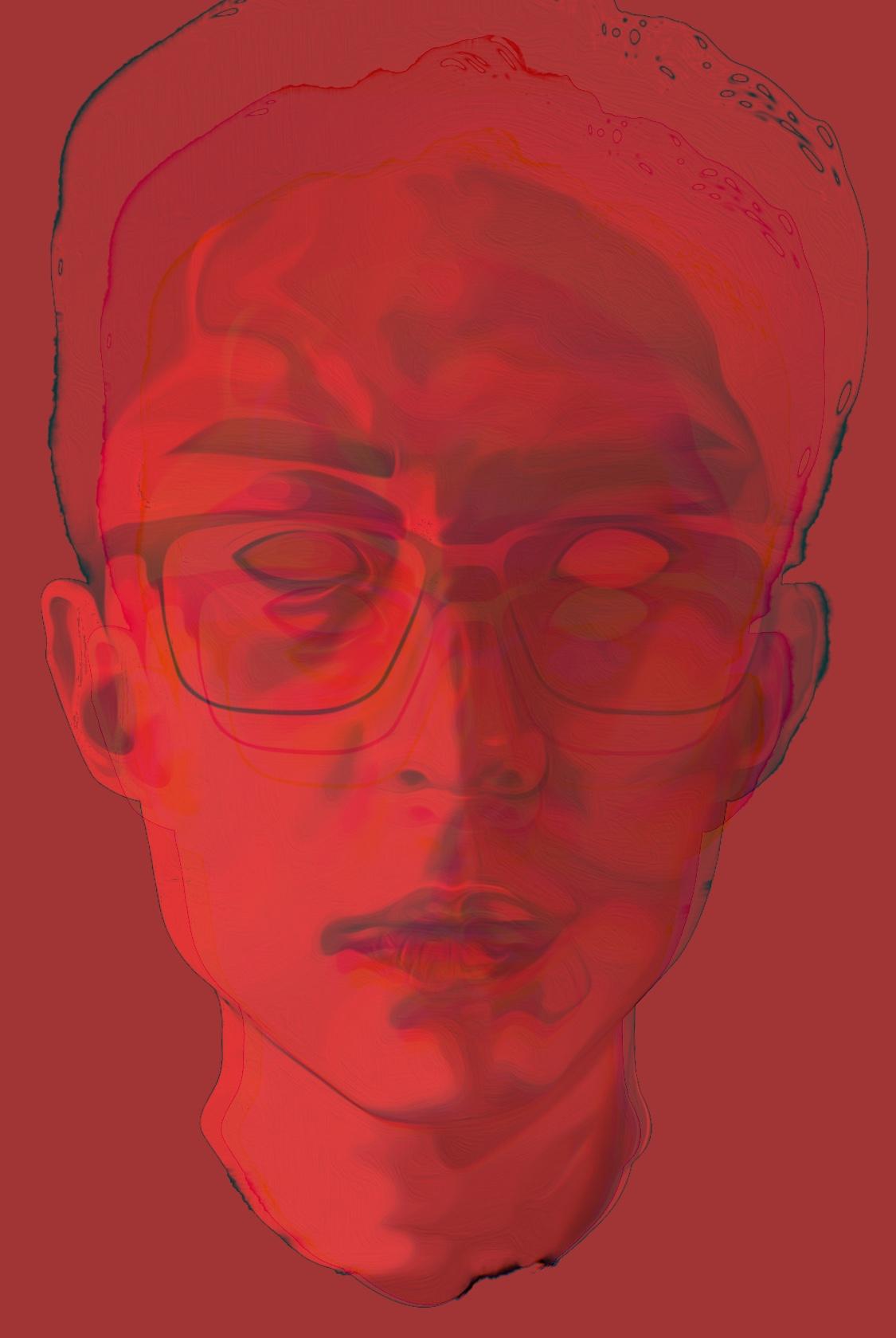 Red statue selfie ERIC KIM