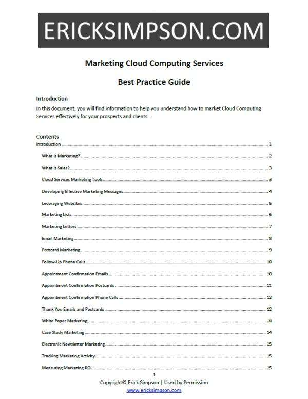 Erick Simpson's Marketing Cloud Computing Services White Paper