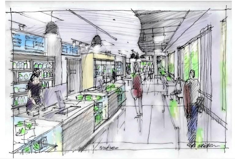 Concept sketch cannabis store sales area.