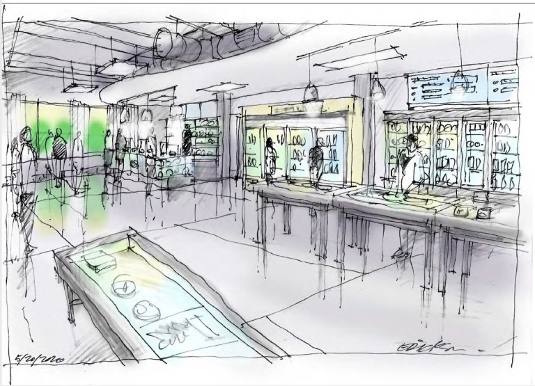 Concept sketch cannabis store sales area with custom tables.