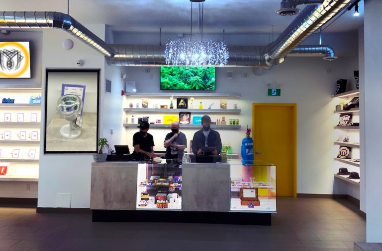 Cannabis Sales counter and shelving.