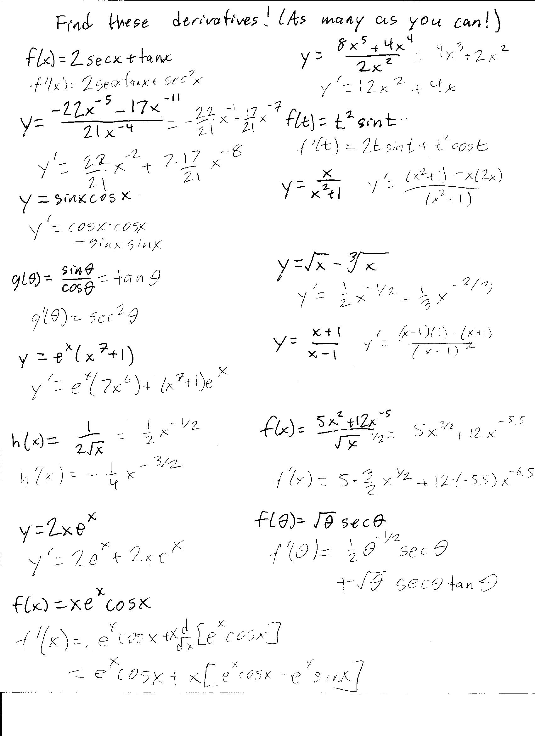 Derivative Worksheet With Solutions