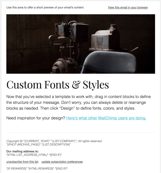 Completed Mailchimp Template