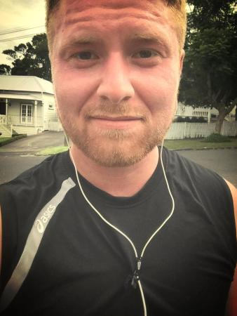 Just after running 10k's. Very tired. This was about 6.2 miles. I didn't even realize it, but I shot over my goal! haha