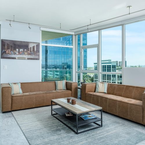 Orange County Real Estate Photographer Photographed Living Room in an Irvine California Luxury High Rise